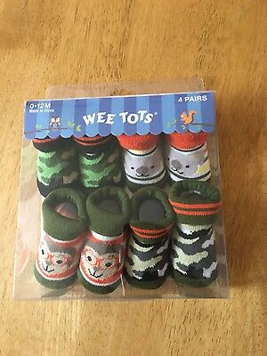 Baby boys camoflague socks/ booties x4 pairs 0-12 months Brand new in box