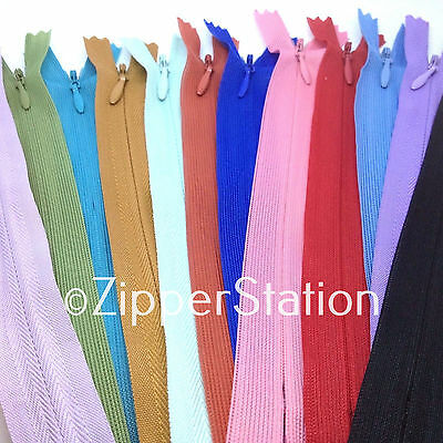 25 Assorted Invisible Concealed Zips - Dress Upholstery Craft Zip Repair (Ix25)