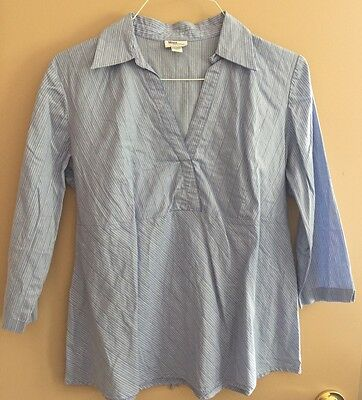 Mimi Maternity Blouse Shirt Top White Blue Career Large 3/4 Sleeves