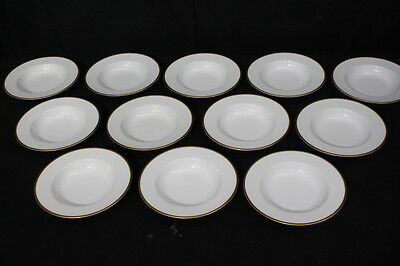 "12pc Vintage Noritake PATRICIA #4982 Gold Band 8"" Rim Soup Bowls, Occupied Japan"