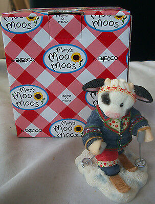 Enesco MARY'S MOO MOOS 112669 Cross Country SKI COW 112669 New In Box