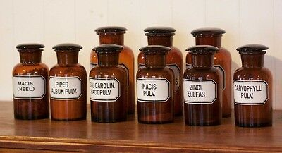 Set of 9 Early 20th Century Glass Apothecary Jars