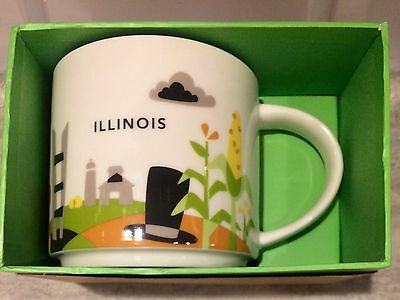 Starbucks Coffee You Are Here YAH Cup Mug ILLINOIS 2016 14 oz NEW in Box