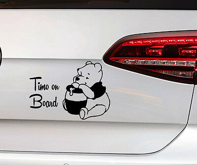 Teddy Bär Sticker Baby on Board Aufkleber Kids Kinder Wunschname Premium Folie