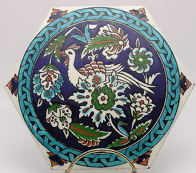 """Victorian Hexagonal 6"""" Majolica Tile - Hand-Painted with Fanciful  Bird"""