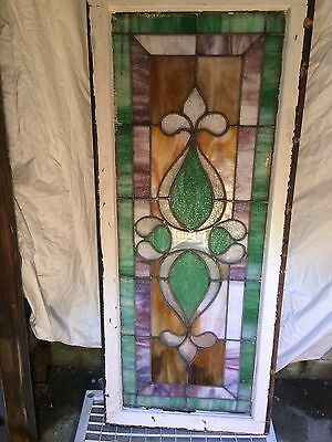 "LARGE LEADED STAINED GLASS WINDOW Beautiful L48"" x W20"" x T1 1/2"" From 1800's"