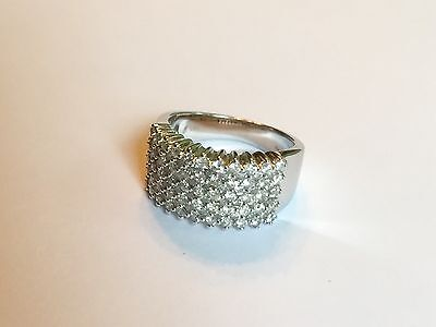 1Ct Diamond Cluster Ring - White Gold - Size 6.5