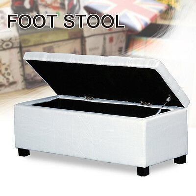 Ivory Linen Folding Storage Pouffe Cube Foot Stool Seat Ottoman Footstool Box