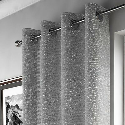 Silver Grey Glittering Sparkles Eyelet Ring Top Shimmery  Voile Curtain Panel