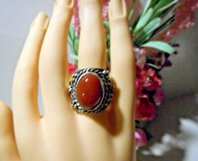 Wde handmade silver ring with polished Carnelian semi precious stone oval