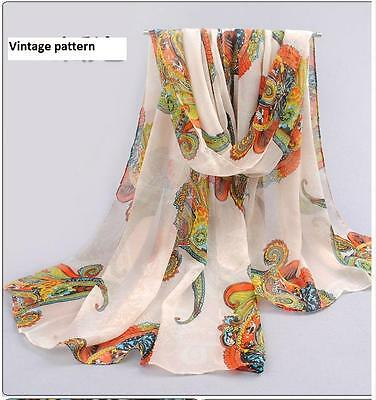Ladies Womens Long Soft Chiffon Scarf Wrap Large Vintage Shawl Stole Scarves