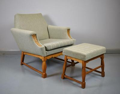 Mid Century Retro Danish Lounge Armchair and Footstool Oak Frame 1950s 60s