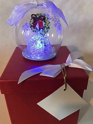 WREATH Glass Globe Ornament Changing Lights & Timers w Satin Lined Gift Box NWT