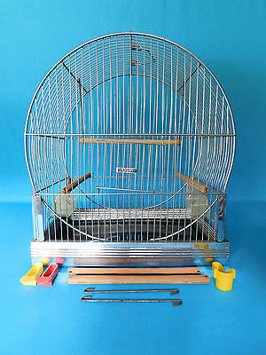 Vintage Hendryx Chrome Round Bird Cage With Extra's Clean Parakeet Canary