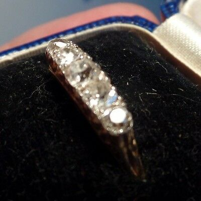Antique or Vintage High Carat Gold & Diamond 5 Stone Ring Size N Approx 0.5ct