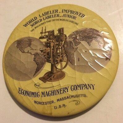 Vintage Advertising Celluloid Mirror Economic Machinery Company Worcester Mass.