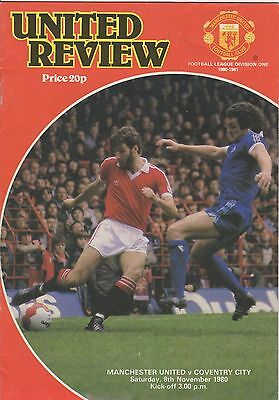 1980 Manchester United v Coventry City Football Programme