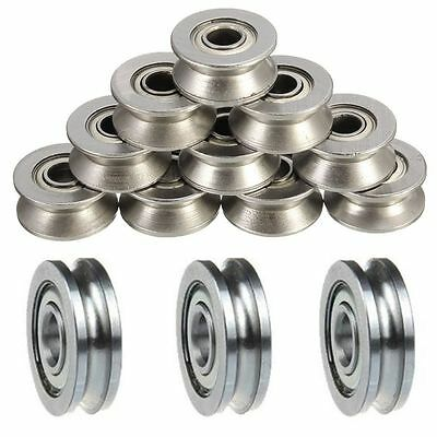 5 Pcs Sealed Guide Wire Track U Groove Pulley Wheels Roller Ball Bearing