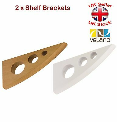 2 x Decorative Shelf Supports Wooden Brackets White or Beech 2 Sizes Round