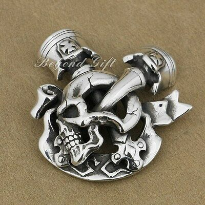 Skull Cross Engine 925 Sterling Silver Wallet Buckle 9P009C Rider DIY Accessory