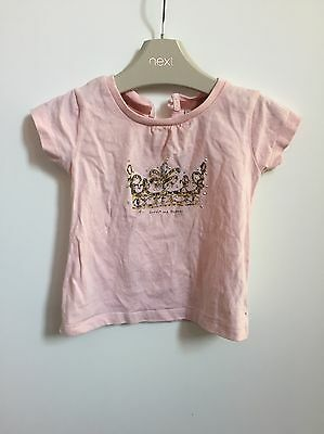 Next Baby Girl Crown Pink Short Sleeved Top 6-9