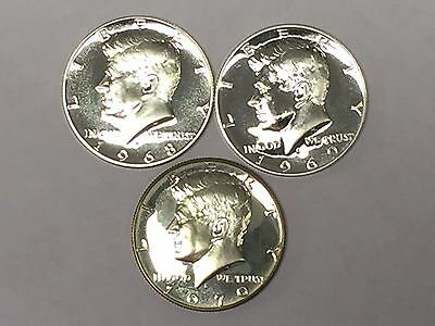 1968-S 1969-S 1970-S  Gem Proof 40% Silver Kennedy Half Dollar Set - 3 Coins