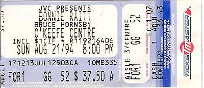 Bonnie Raitt & Bruce Hornsby Ticket Stub O'Keefe Centre AUG 21,1994 Toronto