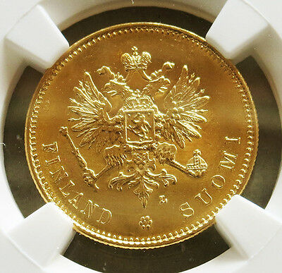 1910 L Gold Finland 20 Markkaa Nicholas Ii Coinage Ngc Mint State 64