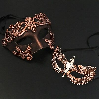Black Copper Roman & Venetian Metal Masquerade Prom Costume Masks
