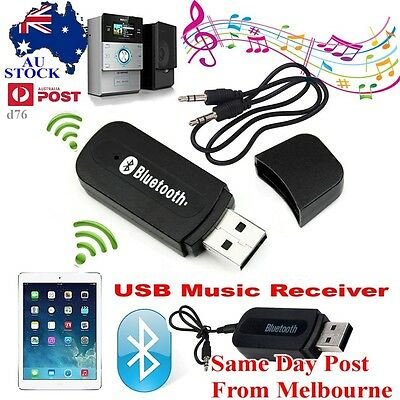 Bluetooth Audio Receiver Adapter Wireless Music 3.5mm Aux Dongle A2DP In Car