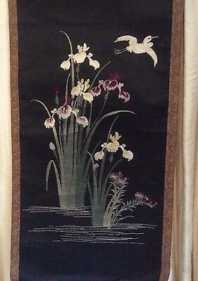 antique japanese embroidered wall hanging