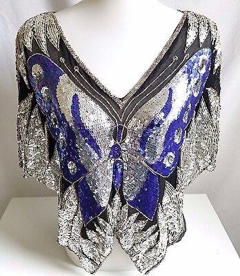 Vintage 70s Black Silk Silver Sequin Beaded Butterfly Disco Shirt Top Size Small