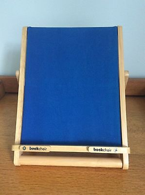Bookchair Book rest / iPad rest / tablet rest with wooden frame and blue canvas