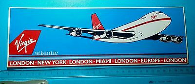 Vintage VIRGIN Atlantic LONDON NEW YORK Airlines promotional Stiker decal