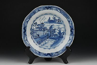 Antique 18th Century Chinese Export Blue & White Scenic Porcelain Plate E