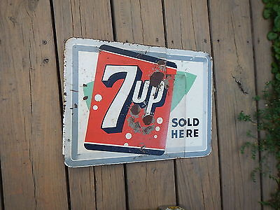 Vintage 7up Sign Cola Soda Rack Advertising rare double sided flange