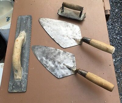 FOUR Concrete Finishing Trowels - Marshalltown - Others -Metal With Wood Handles