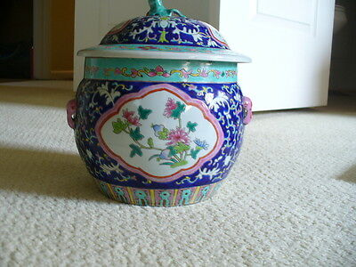 Chinese Famille Tea Caddy Ginger Jar Colorful Floral RED CHOP Stamped Signed