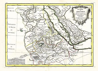 1771 Map By Bonne Of Egypt Sudan Red Sea Arabia Nubia Abyssinia Sudan Somalia!