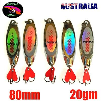 5 Fishing Lure Metal Spoon  Slice Spinner Baits Tackle Salmon Tailor Metal Lures