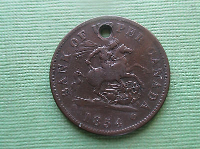 1854 Bank Of Upper Canada One Penny Bank Token Holed  Breton 719 PC 5 1