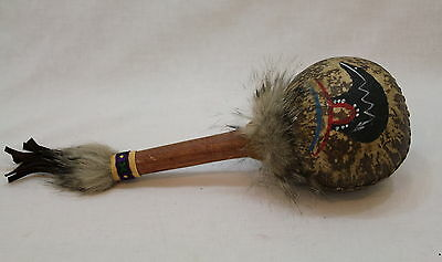 Hand Painted Bear And Bear Claw On Indian Style Gourd Rattle #1307