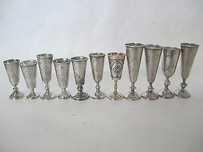 Wonderful Collection Of Eleven Russian Kiddush .84 Silver Cups 19Th Cent.