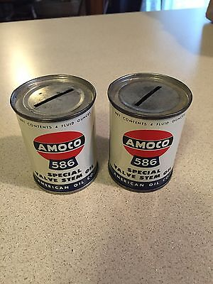 Vintage Amoco Oil Can Advertising Bank Lot Great Condition Gas Station