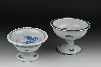 Two Antique Japanese Edo Period Arita Porcelain Footed Bowls / Compotes