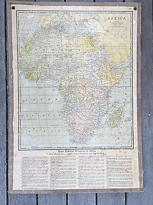 Vintage antique map of Africa, mounted on board