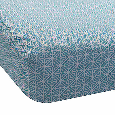 Lambs & Ivy Ryan Collection Fitted Crib Sheet - Geo Teal
