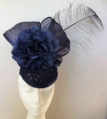 Navy Blue Lace Bow Loops Flower Hat Fascinator Feathers Races Wedding