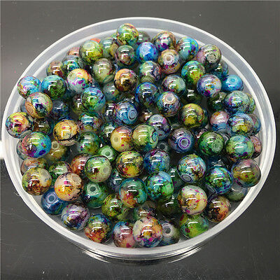 New 8mm 30Pcs Double Colors Glass Round Pearl Loose Beads Jewelry Making #8m63