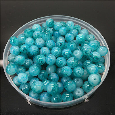New 4mm 100Pcs Double Colors Glass Round Pearl Loose Beads Jewelry Making #4m54